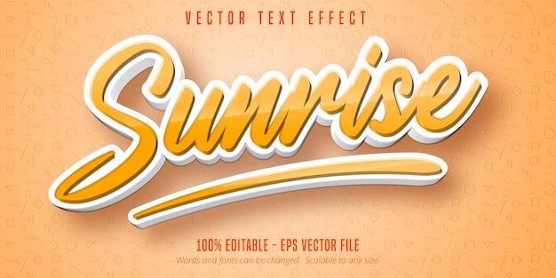 Sonnenaufgangstext, bearbeitbarer texteffekt im cartoon-stil