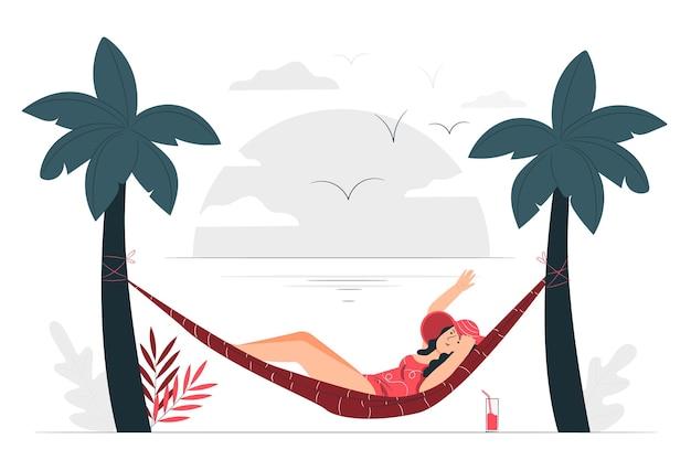 Sonnenbad in einer hängemattenkonzeptillustration
