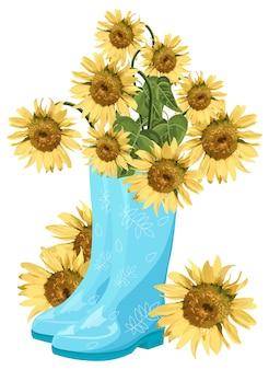 Sonnenblume blumenstrauß in blauen stiefeln