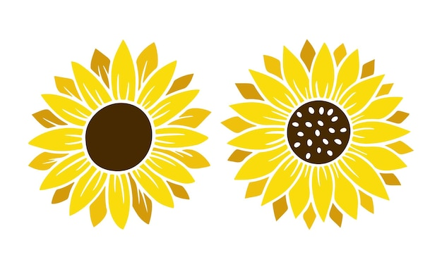 Sonnenblume einfache icon-set. blumen-silhouette-vektor-illustration. sonnenblumen-grafik-logo-sammlung, handgezeichnete ikone für verpackung, dekor. blütenblätter rahmen, schwarze silhouette auf weißem hintergrund.
