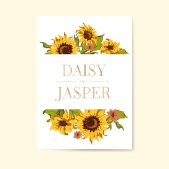 Sonnenblume Hochzeit Einladungskarte Vorlage