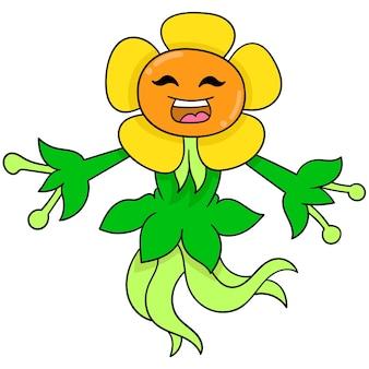 Sonnenblume konfrontierte monster glücklich lächelndes frühlingstanzen, vektorillustrationskunst. doodle symbolbild kawaii.