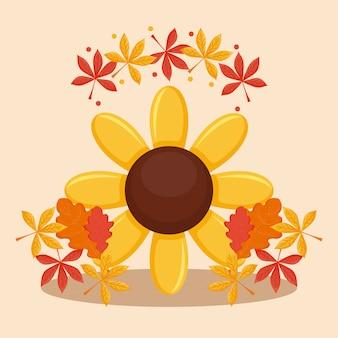 Sonnenblume mit blättern des erntedankfestes