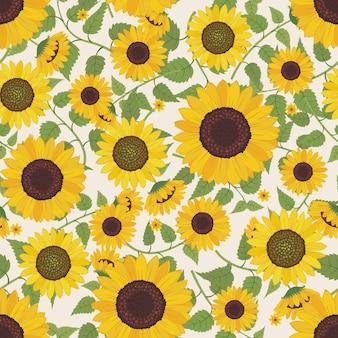 Sonnenblume mit niederlassungs- und blattmusterhintergrund