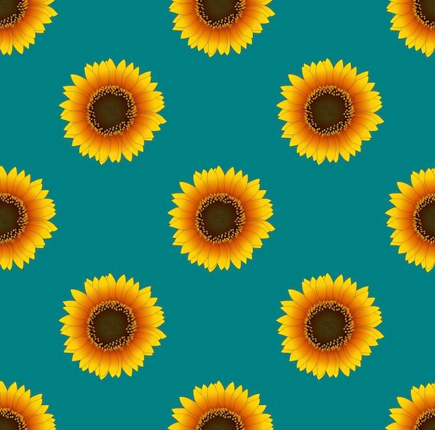 Sonnenblume nahtlos auf grünem knickenten-hintergrund