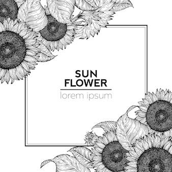 Sonnenblume retro-design-vorlage. sonnenblumen-rahmeneckenzusammensetzung