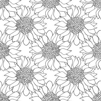 Sonnenblumen blüht nahtloses muster in schwarzen und weißen farben. monochrome tapete. vektor-illustration