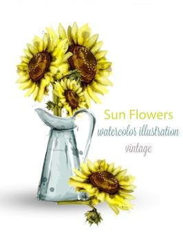 Sonnenblumen blumenstrauß aquarell