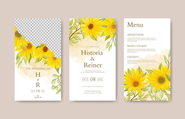 Sonnenblumen-instagram-geschichten-sammlung für hochzeitseinladungsvorlage