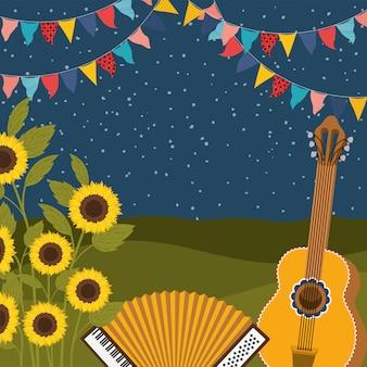 Sonnenblumen mit musikinstrumenten und girlanden