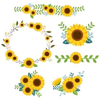 Sonnenblumen ornamente gesetzt