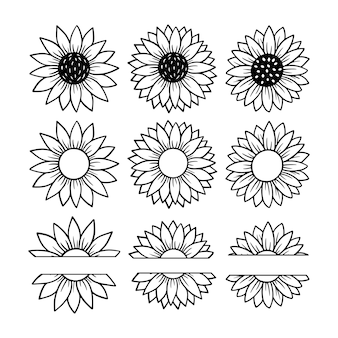 Sonnenblumen-split-monogramm-set. blumen-silhouette-vektor-illustration. sonnenblumen-grafik-logo-sammlung, handgezeichnete ikone für verpackung, dekor. blütenblätter rahmen, schwarze silhouette auf weißem hintergrund