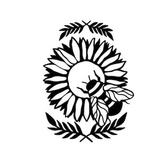 Sonnenblumen- und bienenblumennaturpflanze. sommerblume lokalisiert in weißem hintergrund. botanische wilde blüte. vektorillustration.