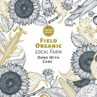 Sonnenblumen- und maisfeldschablone. sonnenblume banner design.