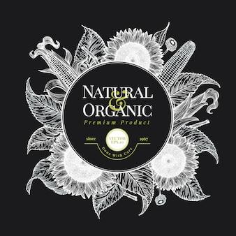 Sonnenblumen- und maislogoschablone. sonnenblumen-kartendesign