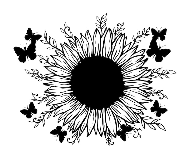 Sonnenblumen- und schmetterlingsrahmen florale naturpflanze.sommerblume isoliert in weißem hintergrund.botanische wilde blüte.vektor-illustration.