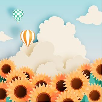 Sonnenblumenfeld mit papierkunstart