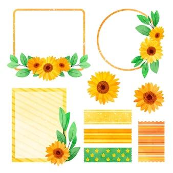 Sonnenblumenillustration im handgemalten stil mit rahmendesign
