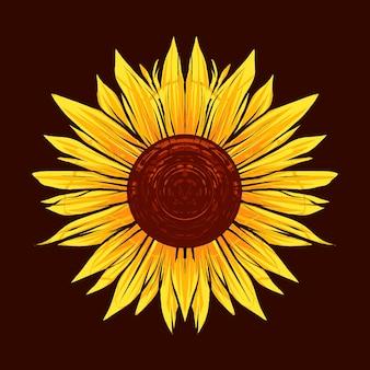 Sonnenblumenillustration mit antikem stil, vintage und altem eindruck. geeignet für t-shirts, drucke und andere bekleidungsprodukte