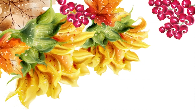 Sonnenblumenkartenaquarell