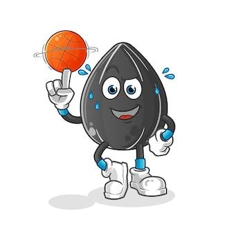 Sonnenblumenkern, der basketballmaskottchen spielt. karikatur