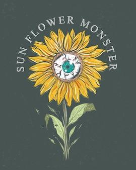 Sonnenblumenmonster, das mit augapfel blüht