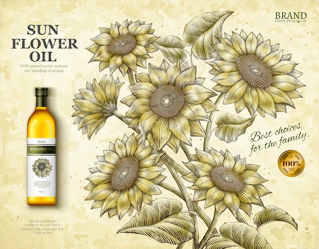 Sonnenblumenöl-anzeigen, exquisites speiseölprodukt in der illustration mit retro-radierungsschattenart-sonnenblumen