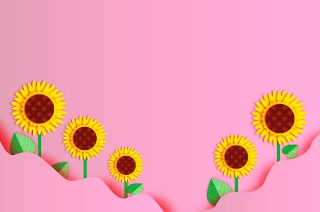 Sonnenblumenpapierschnittart. rosa wellenhintergrund. platz für text.