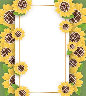 Sonnenblumenrahmen im papierschnitt- und handwerksstil.