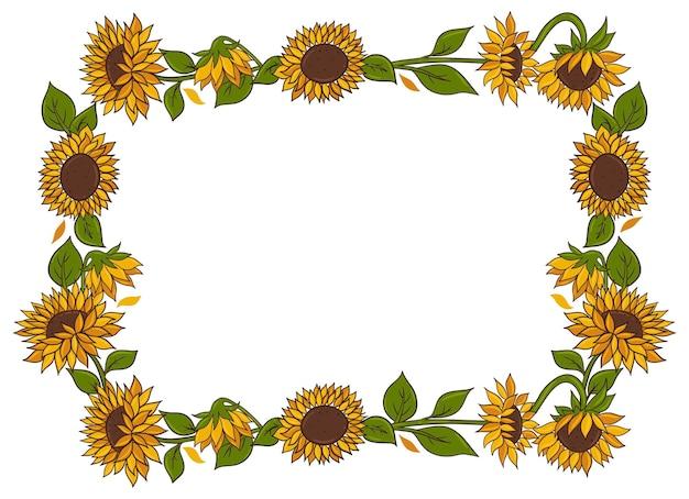 Sonnenblumenrahmen isoliert auf weißem hintergrund. vektorgrafiken.