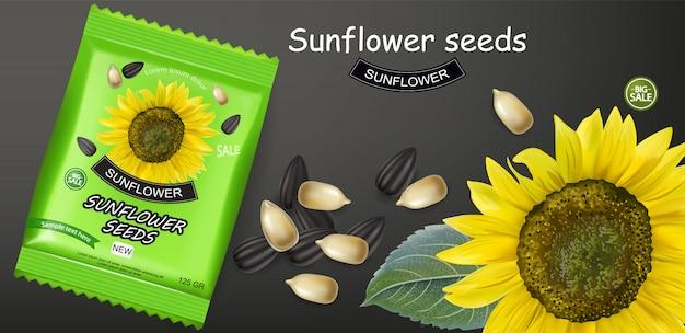 Sonnenblumensamen paket banner