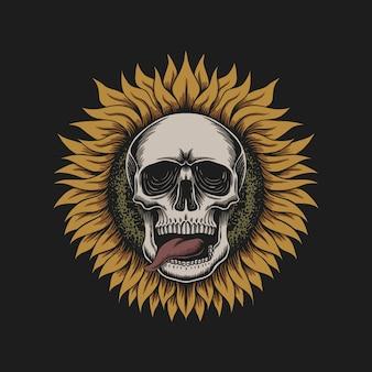 Sonnenblumenschädelillustration