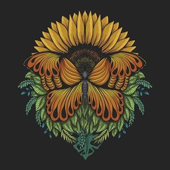 Sonnenblumenschmetterlingsillustration