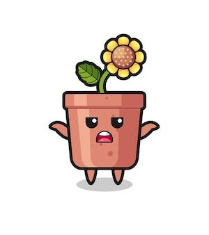 Sonnenblumentopf-maskottchen-charakter, der sagt, ich weiß es nicht, süßes stildesign für t-shirt, aufkleber, logo-element