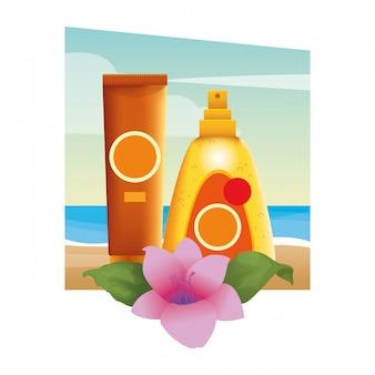 Sonnenbräuner kosmetik mit blumen