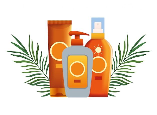 Sonnenbräuner und kosmetikprodukte
