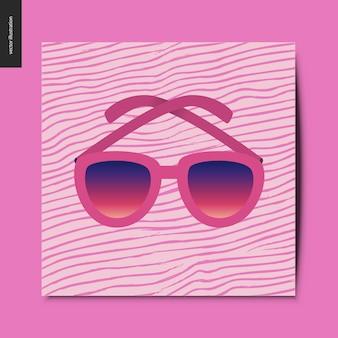 Sonnenbrille auf der rosa karte