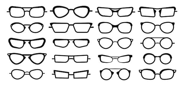 Sonnenbrille, brille lokalisiert auf weißem hintergrund. brillenmodellikonen, männer-, frauenrahmen. verschiedene formen, rahmen, stile. modespektakelzubehör.