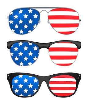Sonnenbrille mit flagge der vereinigten staaten von amerika