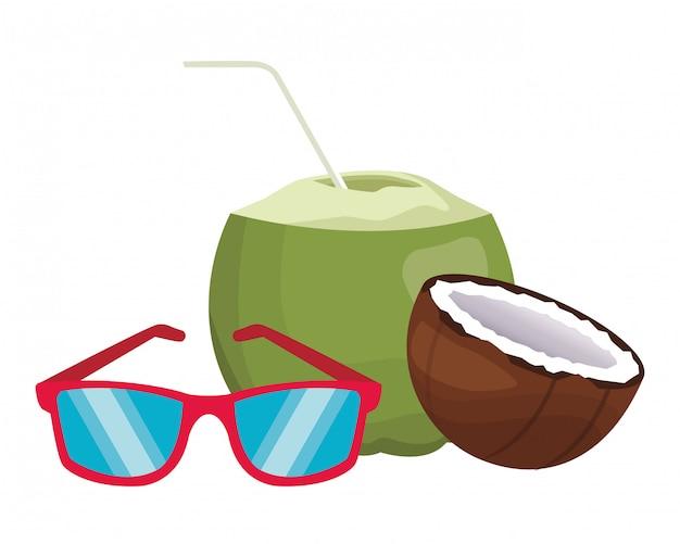 Sonnenbrille mit kokosnuss