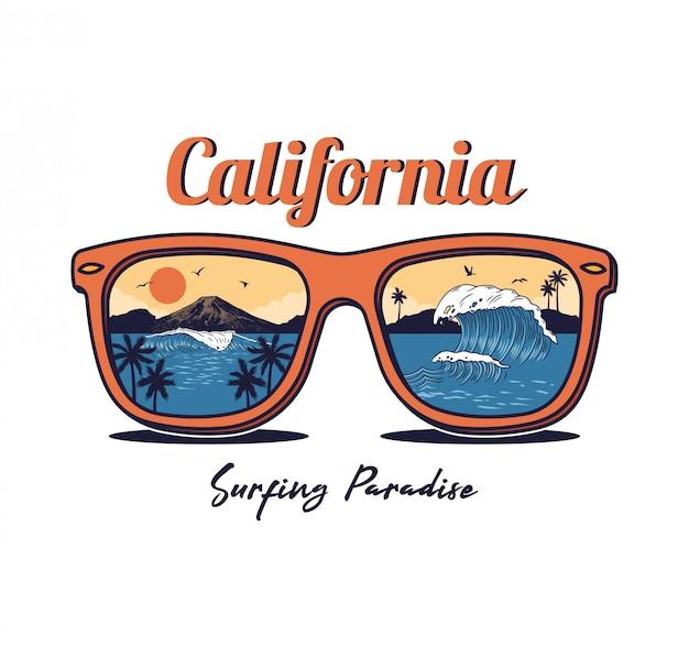 Sonnenbrille mit sommer ozean meer strand, welle, palme, sonnenuntergang, berg
