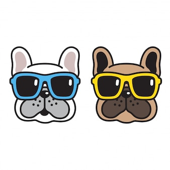 Sonnenbrillekarikatur der französischen bulldogge des hundevektors