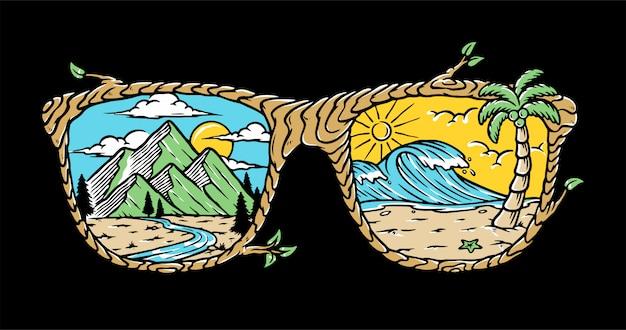 Sonnenbrillen-naturillustration Premium Vektoren