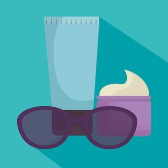 Sonnenbrillen und gesichtscremes