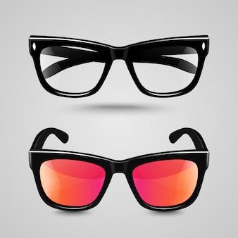 Sonnenbrillen und lesebrillen mit schwarzem farbrahmen und transparenter linse in verschiedenen farbtönen.
