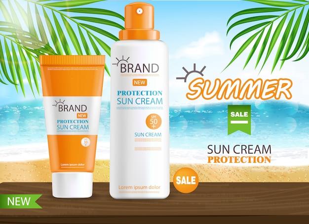 Sonnencremeflasche realistisch isoliert, meereshintergrund, tropisches banner, verpackung, schutzsonnencreme, sommerkosmetik