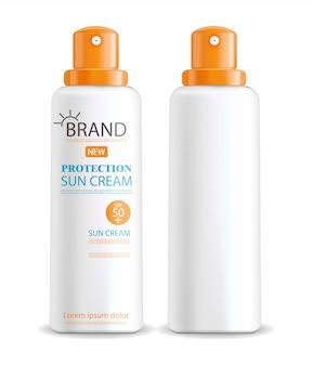 Sonnencremeflasche realistisch isoliert, weißer hintergrund, verpackung, schutzsonnencreme, sommerkosmetik