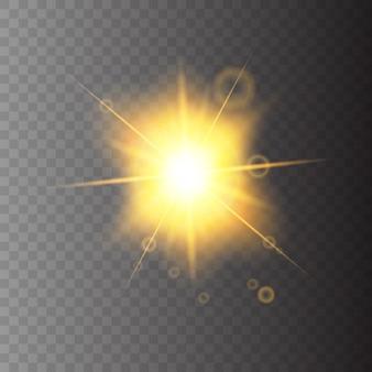 Sonneneruption auf transparentem hintergrund