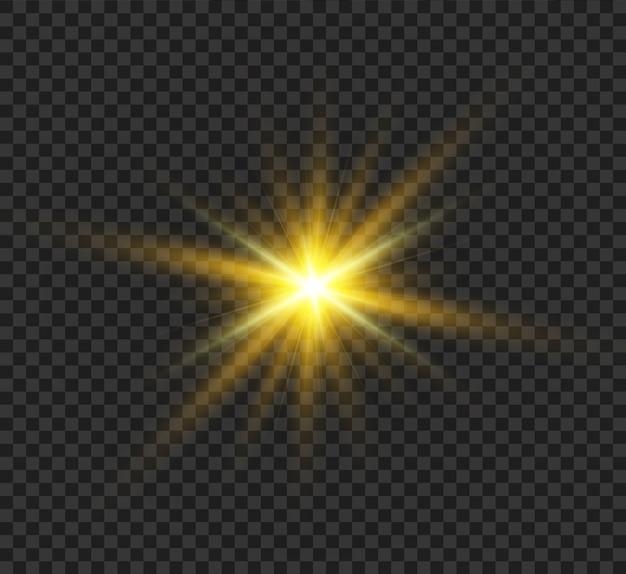 Sonneneruption. schöner heller magischer aufgehender stern mit hellen strahlen. schimmernde lichtgrafiken.