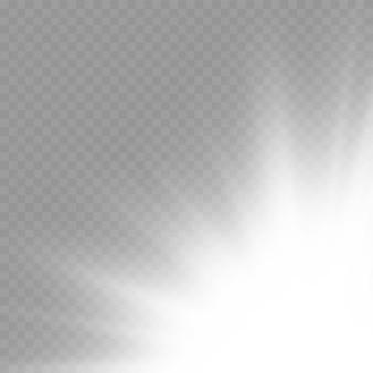 Sonnenexplosion flare spezialeffekt mit lichtstrahlen und magie funkelt hell leuchtender weißer stern